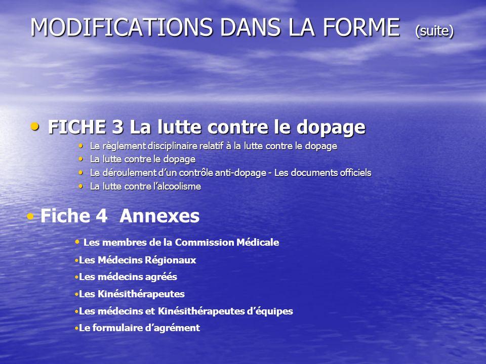 MODIFICATIONS DANS LA FORME (suite) FICHE 3 La lutte contre le dopage FICHE 3 La lutte contre le dopage Le règlement disciplinaire relatif à la lutte