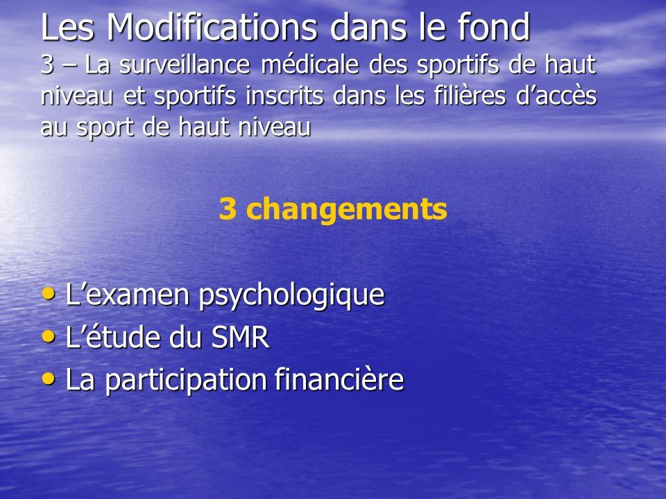 Les Modifications dans le fond 3 – La surveillance médicale des sportifs de haut niveau et sportifs inscrits dans les filières daccès au sport de haut
