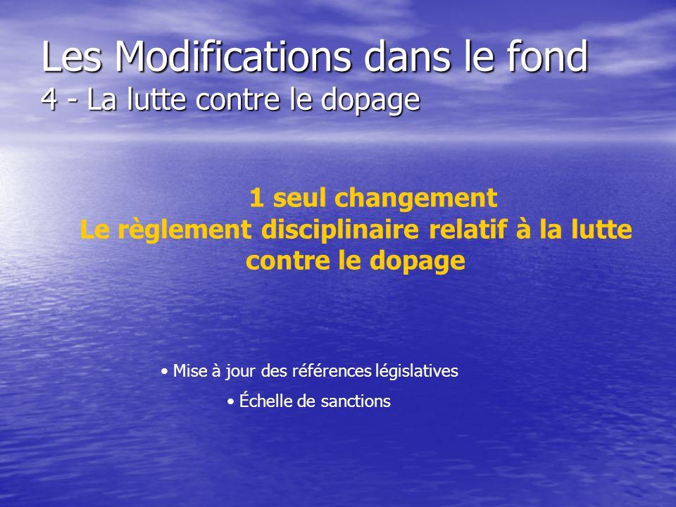 Les Modifications dans le fond 4 - La lutte contre le dopage 1 seul changement Le règlement disciplinaire relatif à la lutte contre le dopage Mise à j