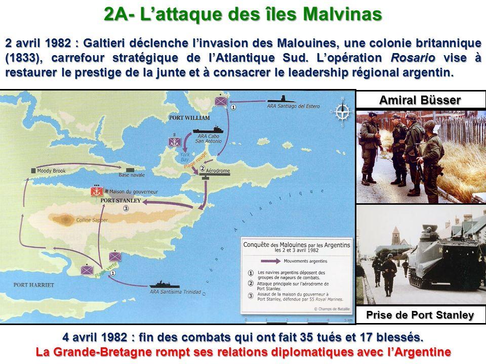 2A- Lattaque des îles Malvinas 2 avril 1982 : Galtieri déclenche linvasion des Malouines, une colonie britannique (1833), carrefour stratégique de lAt