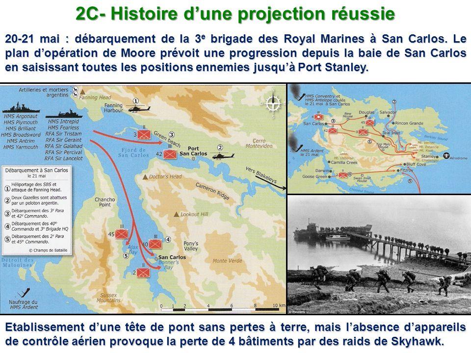2C- Histoire dune projection réussie 20-21 mai : débarquement de la 3 e brigade des Royal Marines à San Carlos. Le plan dopération de Moore prévoit un