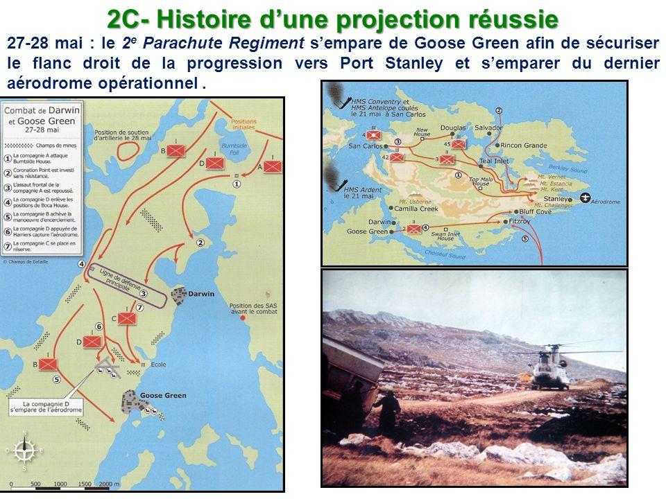 2C- Histoire dune projection réussie 27-28 mai : le 2 e Parachute Regiment sempare de Goose Green afin de sécuriser le flanc droit de la progression v