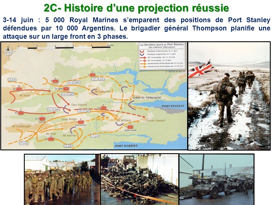 2C- Histoire dune projection réussie 3-14 juin : 5 000 Royal Marines semparent des positions de Port Stanley défendues par 10 000 Argentins. Le brigad