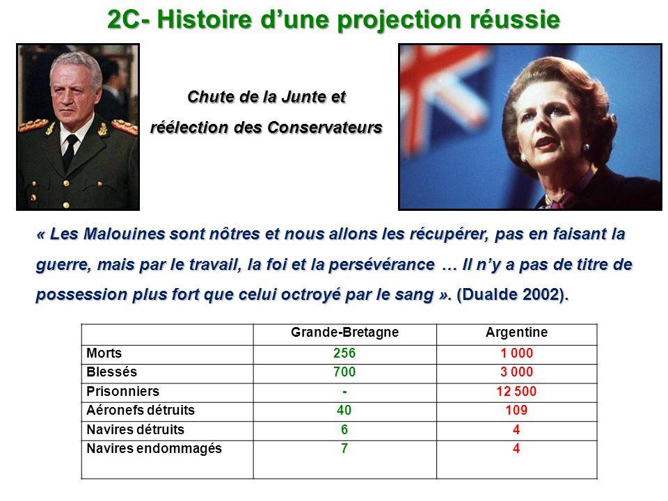 2C- Histoire dune projection réussie « Les Malouines sont nôtres et nous allons les récupérer, pas en faisant la guerre, mais par le travail, la foi e