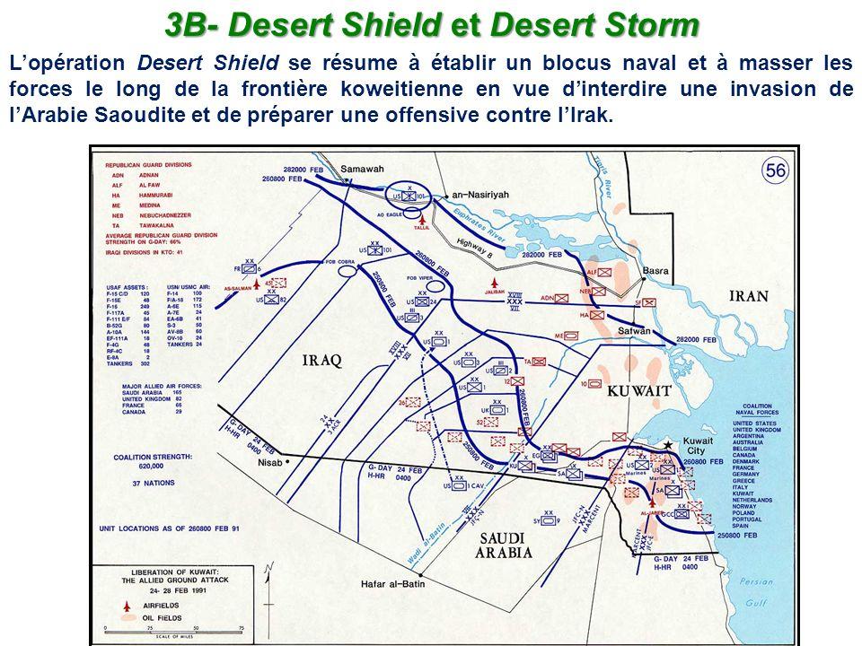3B- Desert Shield et Desert Storm Lopération Desert Shield se résume à établir un blocus naval et à masser les forces le long de la frontière koweitie