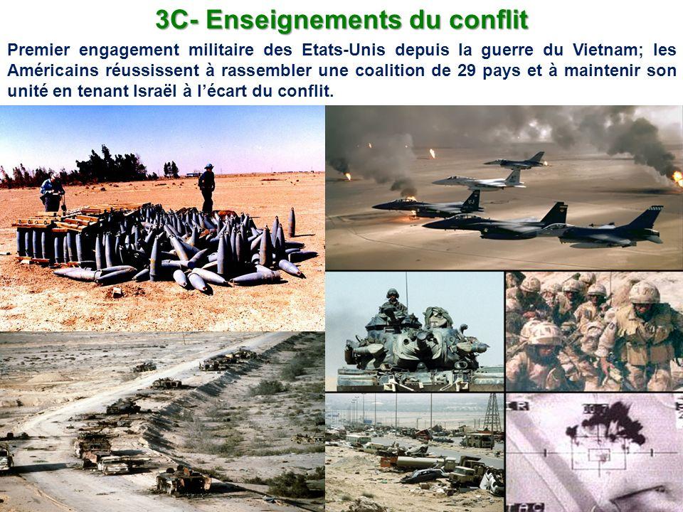 3C- Enseignements du conflit Premier engagement militaire des Etats-Unis depuis la guerre du Vietnam; les Américains réussissent à rassembler une coal