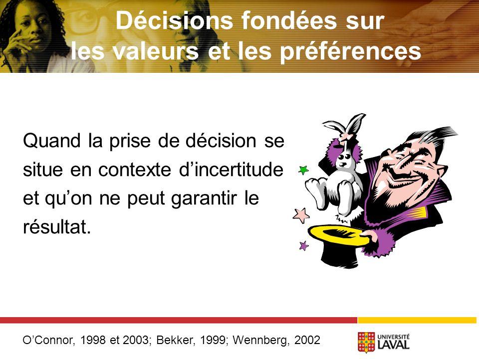 Quand la prise de décision se situe en contexte dincertitude et quon ne peut garantir le résultat.
