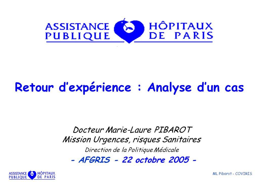ML Pibarot - COVIRIS Docteur Marie-Laure PIBAROT Mission Urgences, risques Sanitaires Direction de la Politique Médicale - AFGRIS - 22 octobre 2005 -