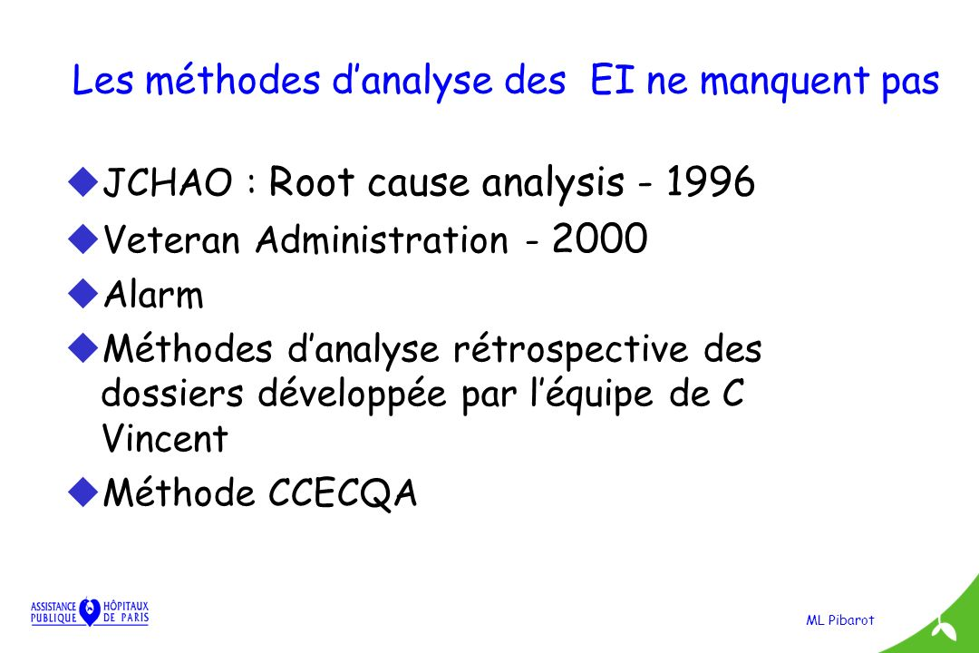 ML Pibarot Les méthodes danalyse des EI ne manquent pas uJCHAO : Root cause analysis - 1996 uVeteran Administration - 2000 uAlarm uMéthodes danalyse r