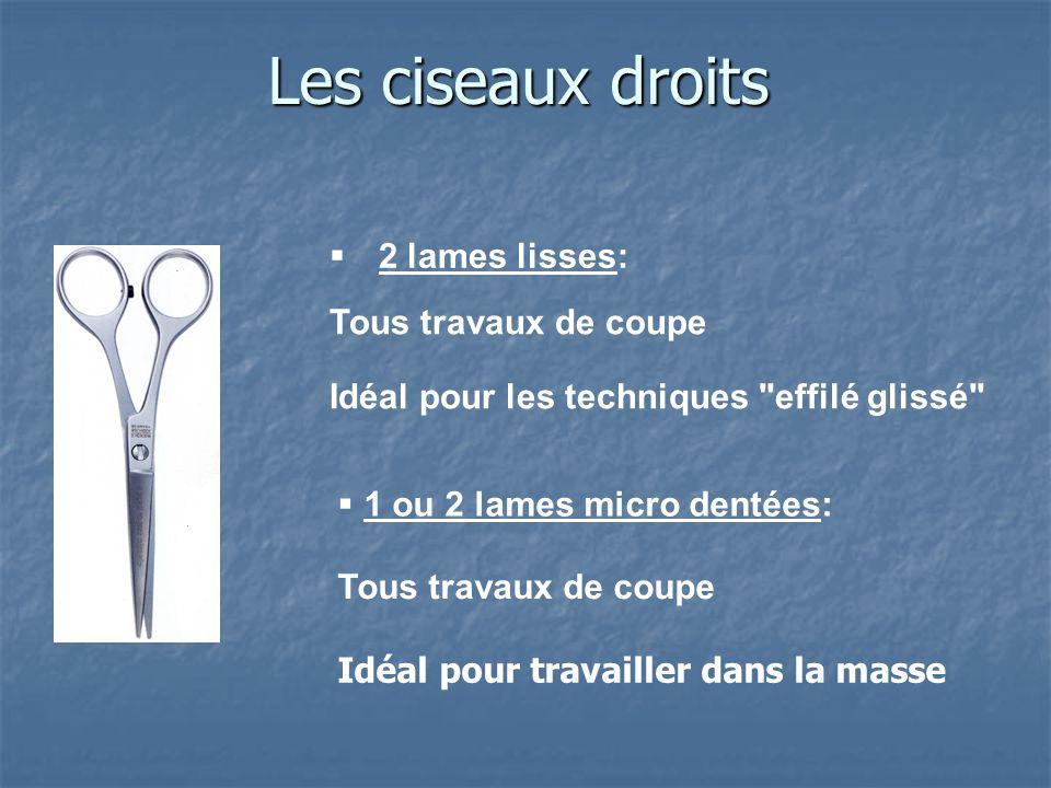 Les ciseaux droits 2 lames lisses: 1 ou 2 lames micro dentées: Tous travaux de coupe Idéal pour les techniques