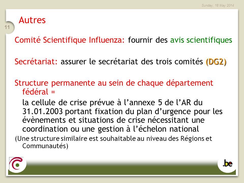 Sunday, 18 May 2014 11 Autres Comité Scientifique Influenza: fournir des avis scientifiques (DG2) Secrétariat: assurer le secrétariat des trois comité