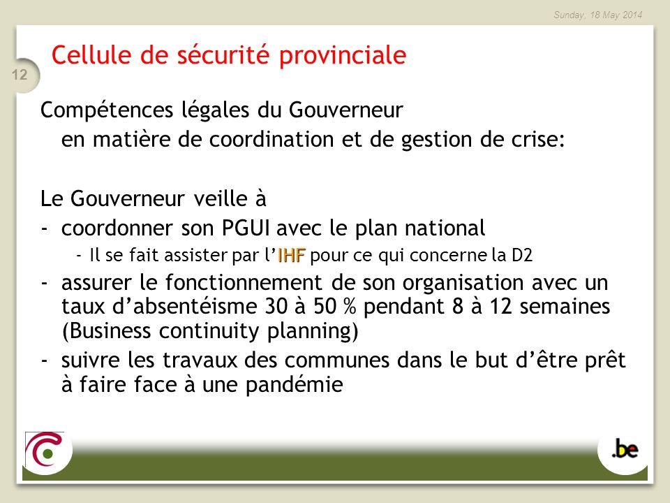 Sunday, 18 May 2014 12 Cellule de sécurité provinciale Compétences légales du Gouverneur en matière de coordination et de gestion de crise: Le Gouvern
