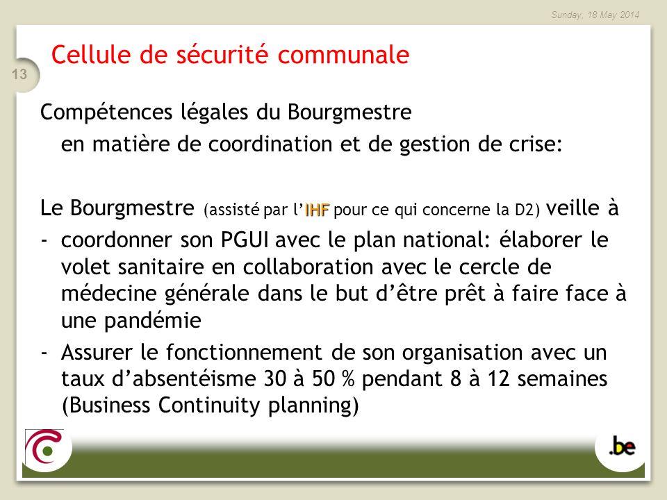 Sunday, 18 May 2014 13 Cellule de sécurité communale Compétences légales du Bourgmestre en matière de coordination et de gestion de crise: IHF Le Bour