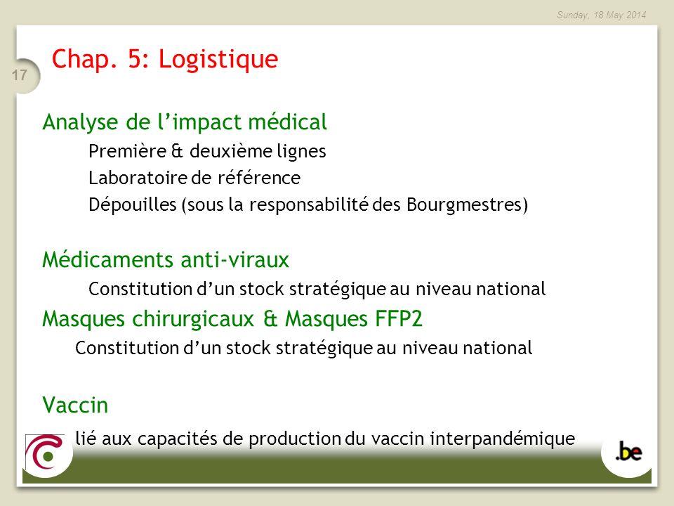 Sunday, 18 May 2014 17 Chap. 5: Logistique Analyse de limpact médical Première & deuxième lignes Laboratoire de référence Dépouilles (sous la responsa