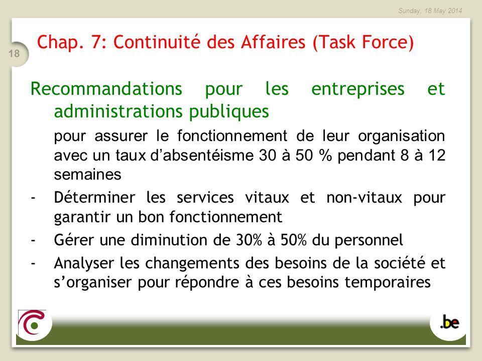Sunday, 18 May 2014 18 Chap. 7: Continuité des Affaires (Task Force) Recommandations pour les entreprises et administrations publiques pour assurer le