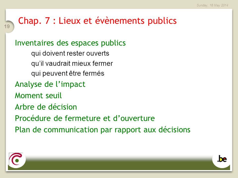 Sunday, 18 May 2014 19 Chap. 7 : Lieux et évènements publics Inventaires des espaces publics qui doivent rester ouverts quil vaudrait mieux fermer qui