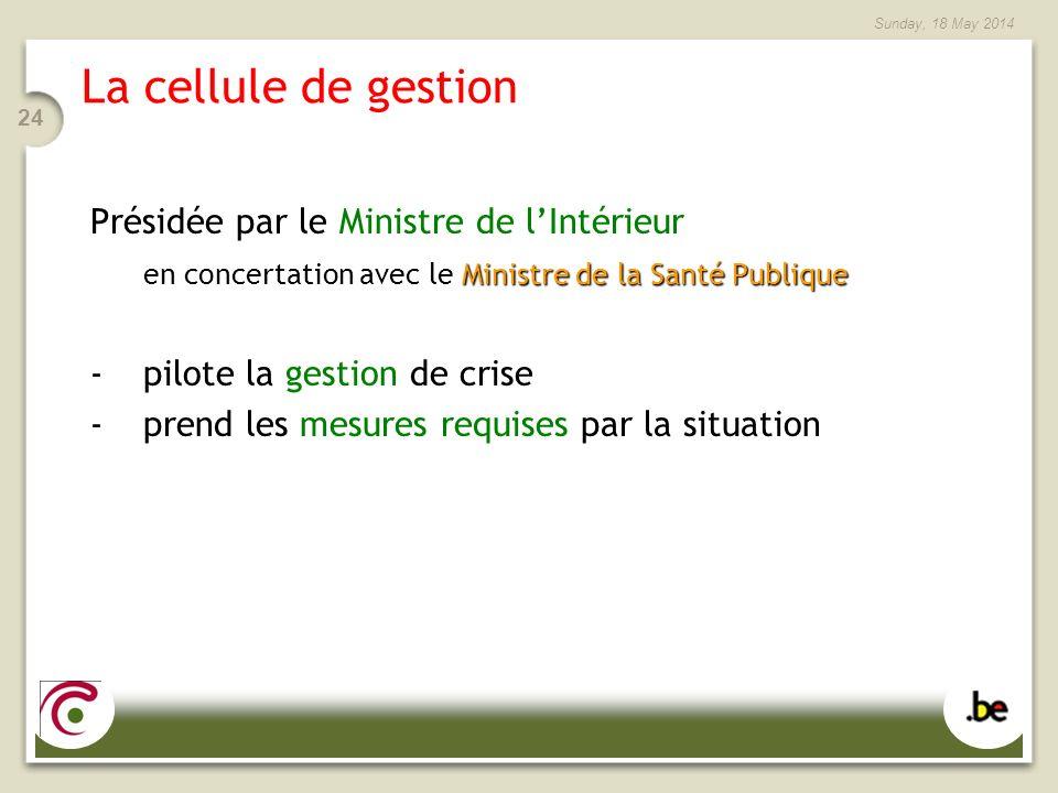 Sunday, 18 May 2014 24 La cellule de gestion Présidée par le Ministre de lIntérieur Ministre de la Santé Publique en concertation avec le Ministre de la Santé Publique -pilote la gestion de crise -prend les mesures requises par la situation
