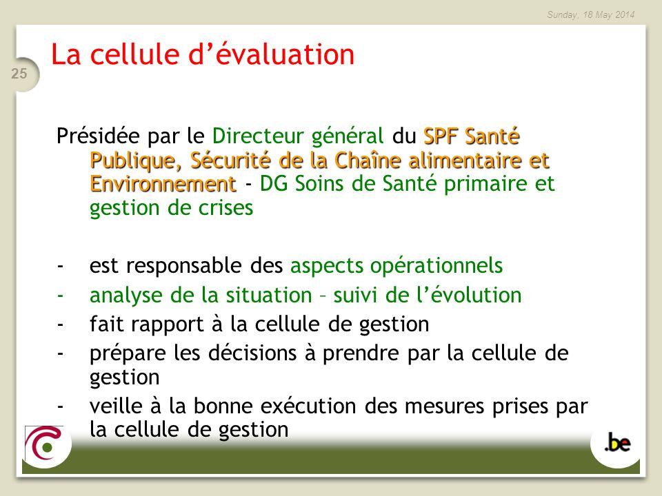 Sunday, 18 May 2014 25 La cellule dévaluation SPF Santé Publique, Sécurité de la Chaîne alimentaire et Environnement Présidée par le Directeur général