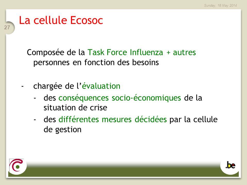 Sunday, 18 May 2014 27 La cellule Ecosoc Composée de la Task Force Influenza + autres personnes en fonction des besoins -chargée de lévaluation -des conséquences socio-économiques de la situation de crise -des différentes mesures décidées par la cellule de gestion