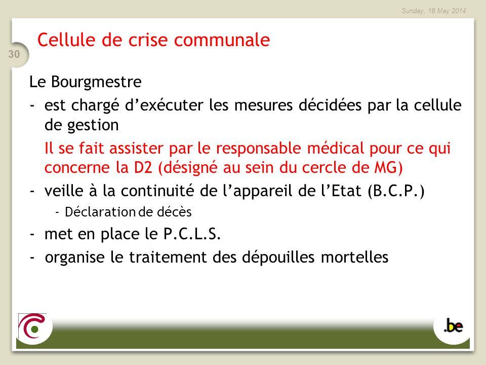 Sunday, 18 May 2014 30 Cellule de crise communale Le Bourgmestre -est chargé dexécuter les mesures décidées par la cellule de gestion Il se fait assister par le responsable médical pour ce qui concerne la D2 (désigné au sein du cercle de MG) -veille à la continuité de lappareil de lEtat (B.C.P.) -Déclaration de décès -met en place le P.C.L.S.