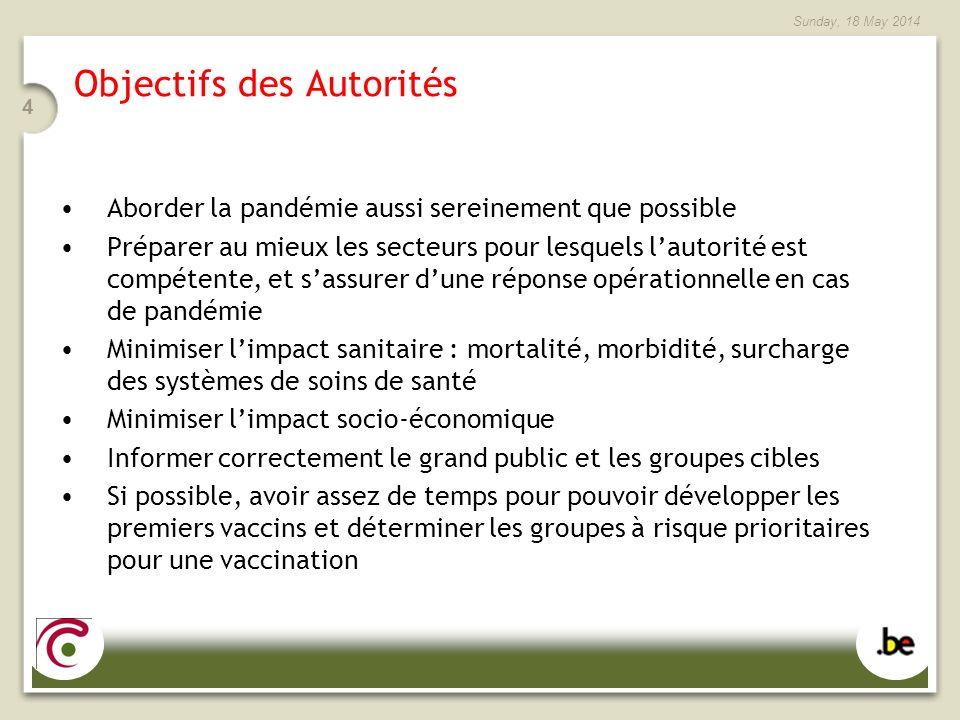 Sunday, 18 May 2014 4 Objectifs des Autorités Aborder la pandémie aussi sereinement que possible Préparer au mieux les secteurs pour lesquels lautorit
