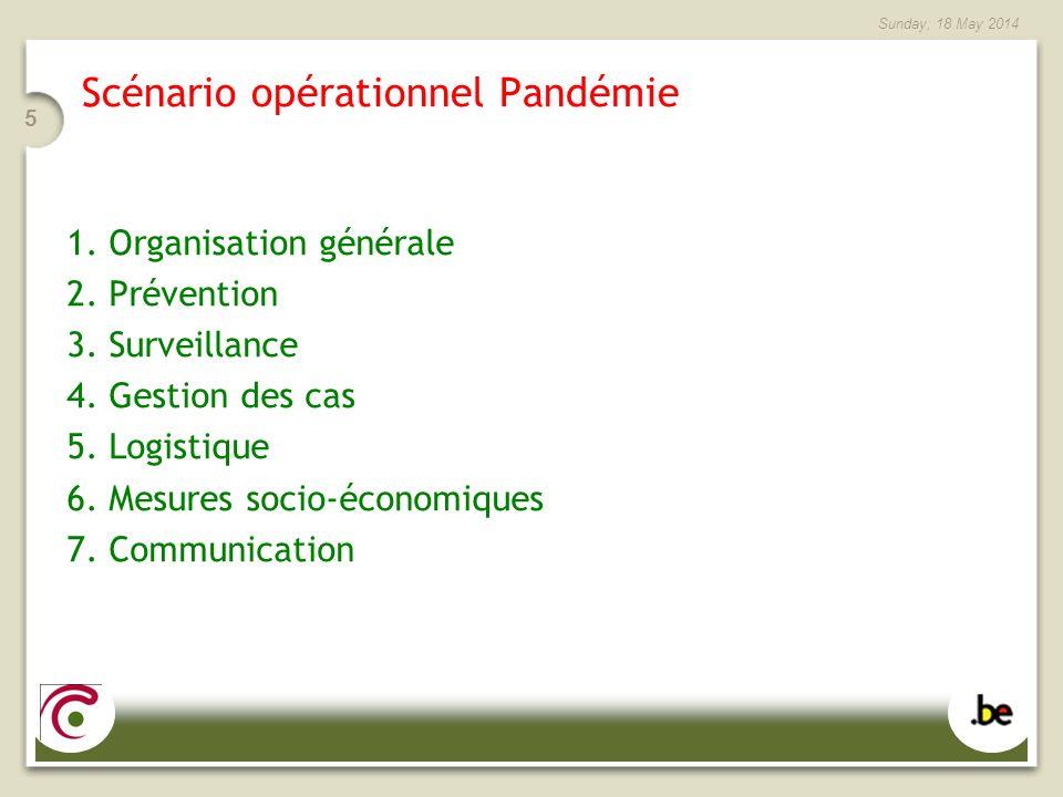 Sunday, 18 May 2014 5 Scénario opérationnel Pandémie 1. Organisation générale 2. Prévention 3. Surveillance 4. Gestion des cas 5. Logistique 6. Mesure