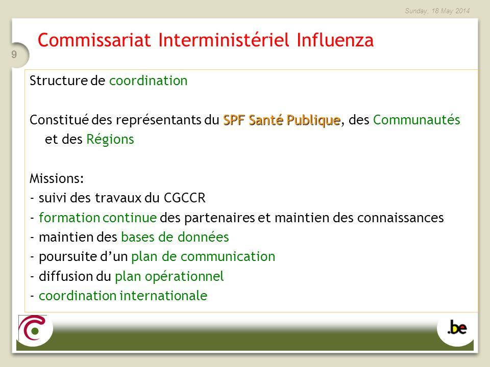 Sunday, 18 May 2014 9 Commissariat Interministériel Influenza Structure de coordination SPF Santé Publique Constitué des représentants du SPF Santé Pu