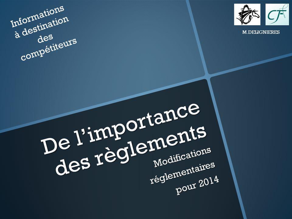 De limportance des règlements Modificationsréglementaires pour 2014 Informations à destination des compétiteurs M.DELIGNIERES