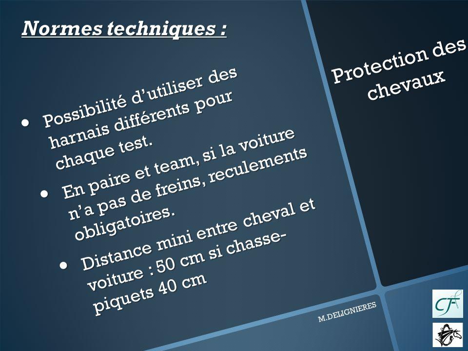 Protection des chevaux M.DELIGNIERES Possibilité dutiliser des harnais différents pour chaque test.