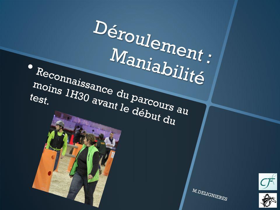Déroulement : Maniabilité Reconnaissance du parcours au moins 1H30 avant le début du test.