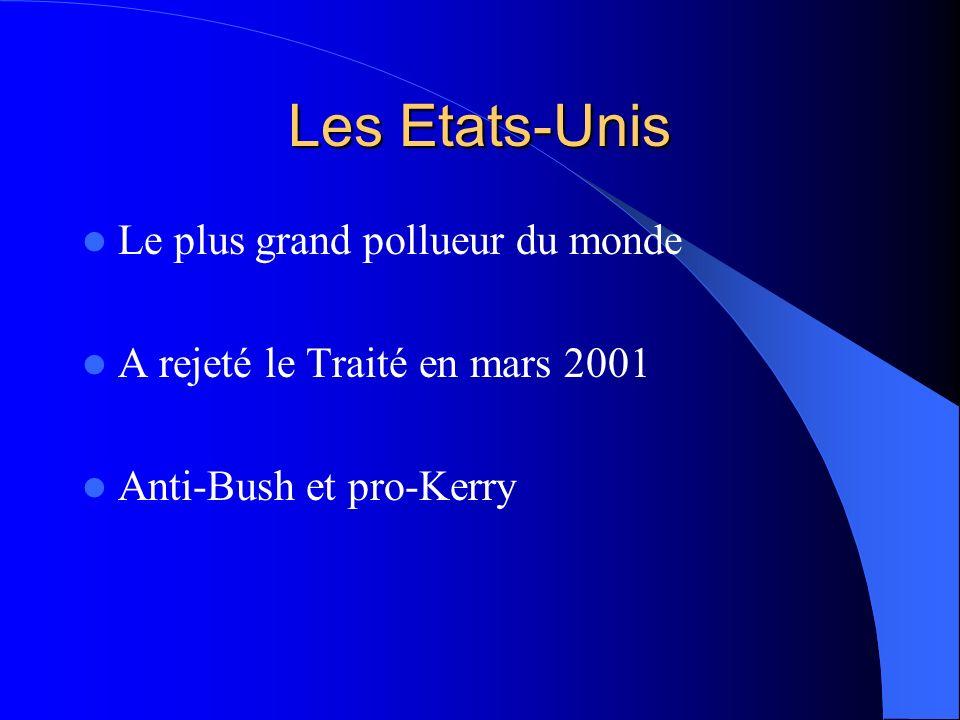 Les Etats-Unis Le plus grand pollueur du monde A rejeté le Traité en mars 2001 Anti-Bush et pro-Kerry