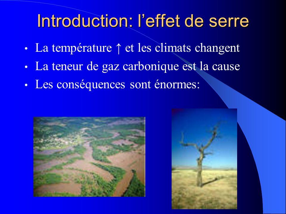 Introduction: leffet de serre La température et les climats changent La teneur de gaz carbonique est la cause Les conséquences sont énormes: