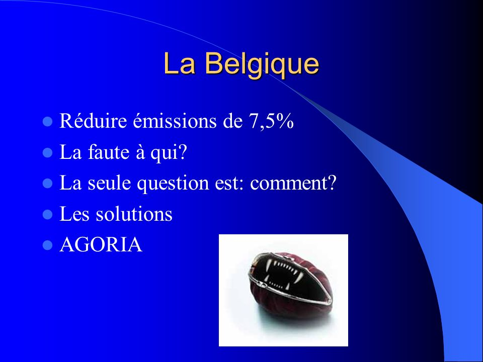 La Belgique Réduire émissions de 7,5% La faute à qui.