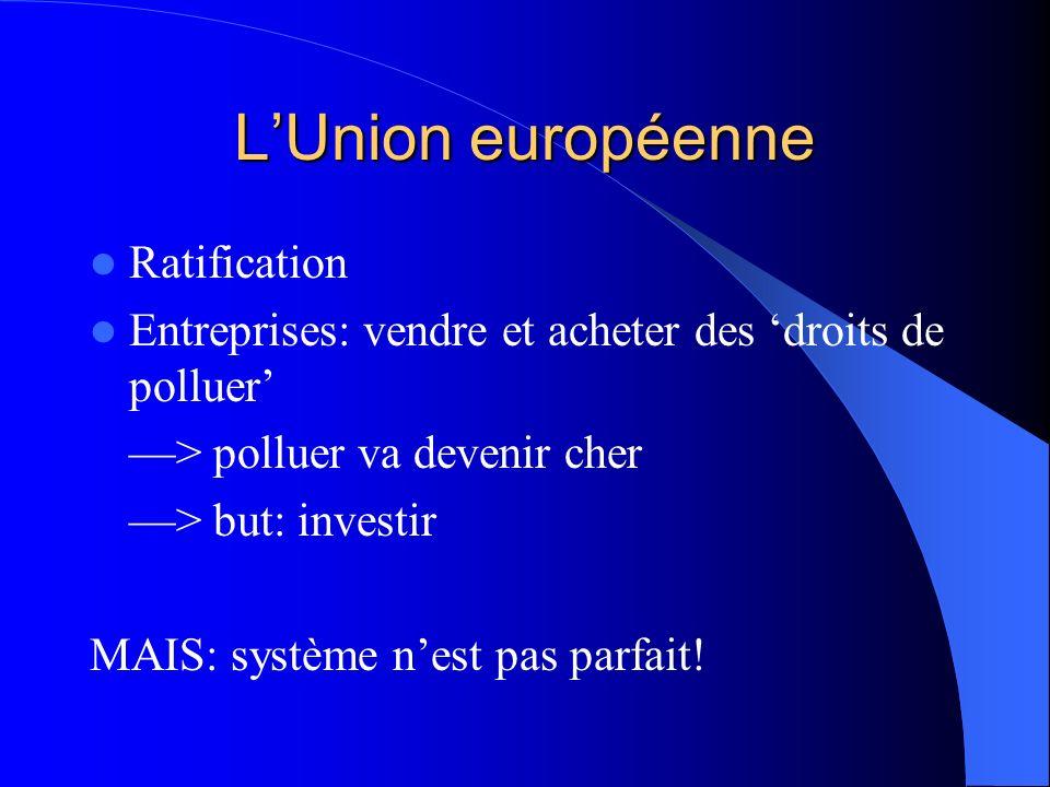 LUnion européenne Ratification Entreprises: vendre et acheter des droits de polluer > polluer va devenir cher > but: investir MAIS: système nest pas parfait!