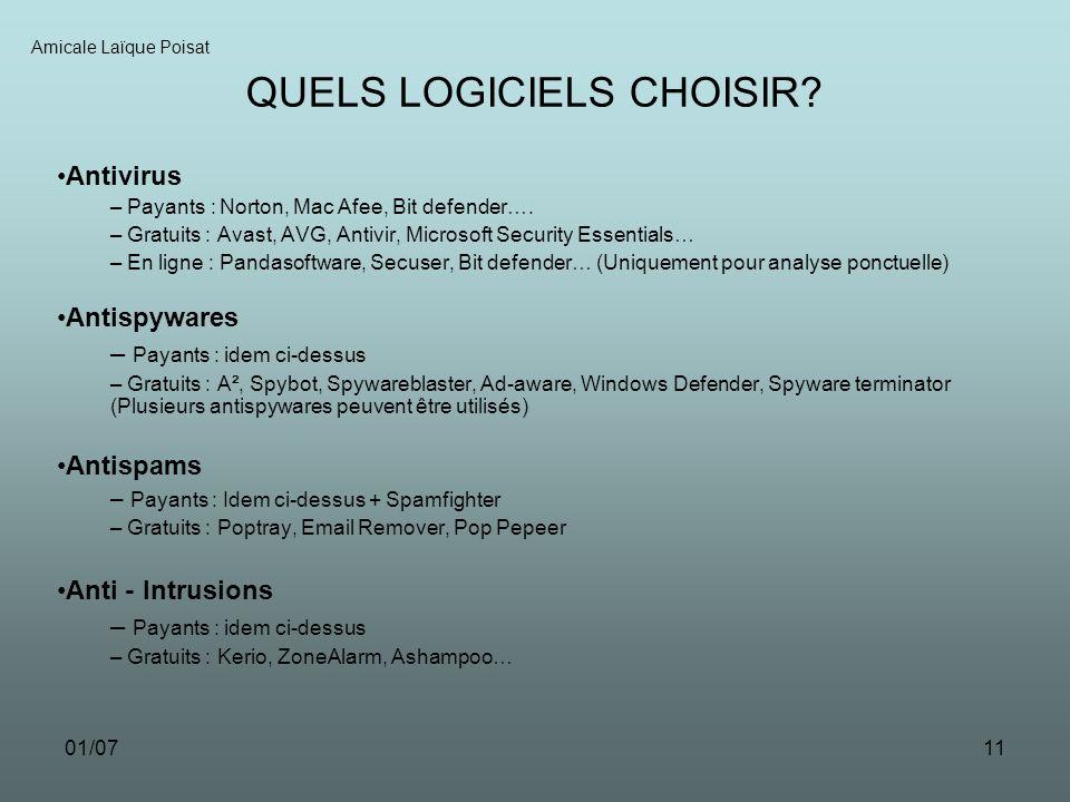 01/0711 Amicale Laïque Poisat QUELS LOGICIELS CHOISIR.
