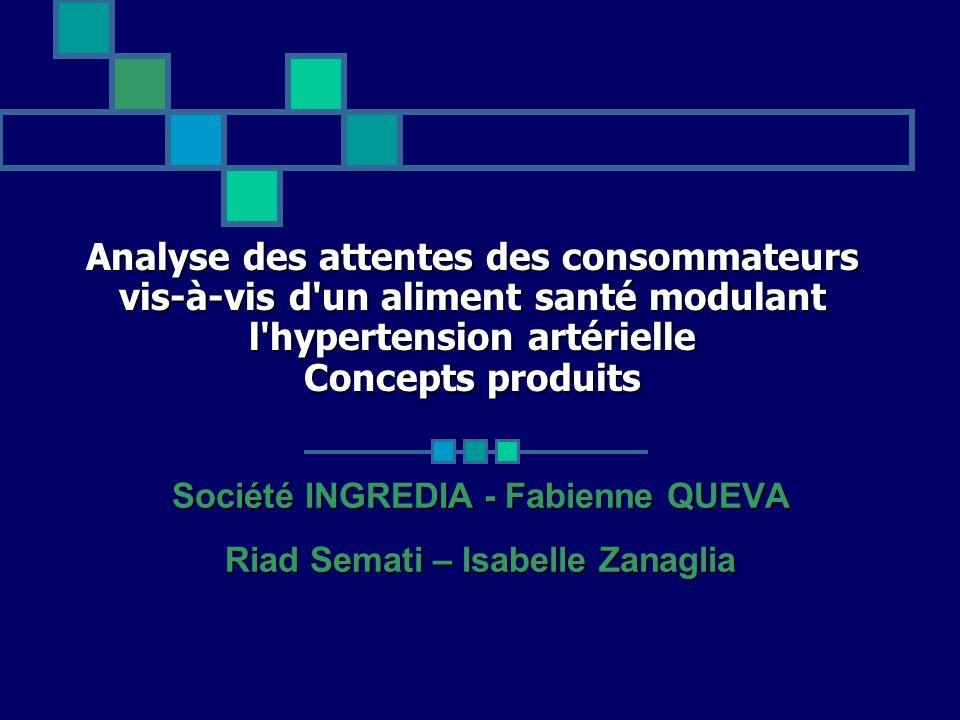 Analyse des attentes des consommateurs vis-à-vis d'un aliment santé modulant l'hypertension artérielle Concepts produits Société INGREDIA - Fabienne Q