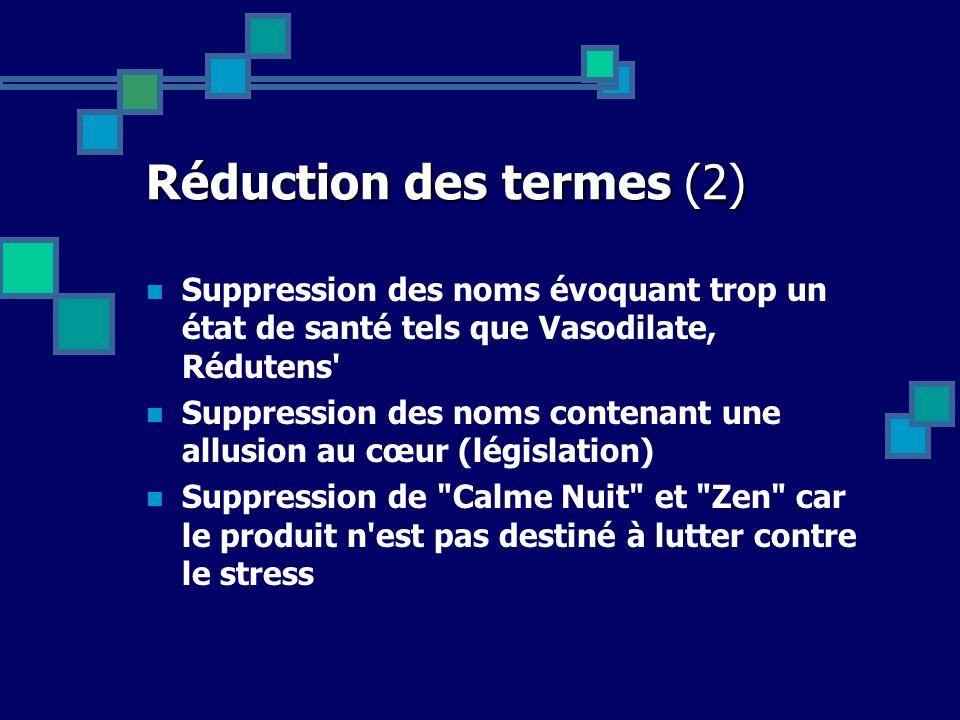 Réduction des termes (2) Suppression des noms évoquant trop un état de santé tels que Vasodilate, Rédutens' Suppression des noms contenant une allusio