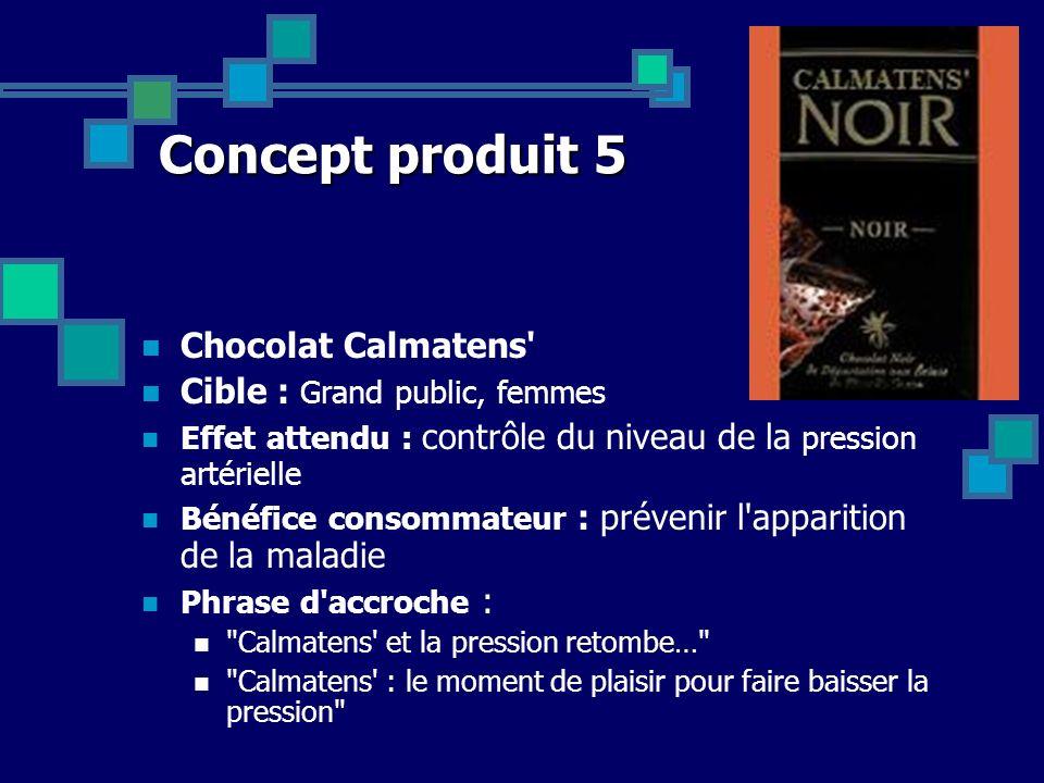 Concept produit 5 Chocolat Calmatens' Cible : Grand public, femmes Effet attendu : contrôle du niveau de la pression artérielle Bénéfice consommateur