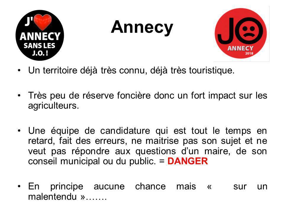 Annecy Un territoire déjà très connu, déjà très touristique.