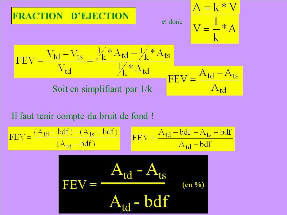 FRACTION DEJECTION et donc FEV = A td - A ts A td - bdf (en %) Soit en simplifiant par 1/k Il faut tenir compte du bruit de fond !