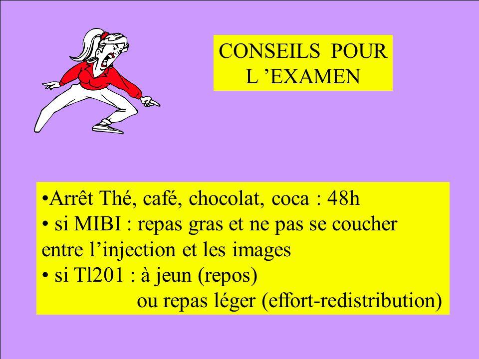 CONSEILS POUR L EXAMEN Arrêt Thé, café, chocolat, coca : 48h si MIBI : repas gras et ne pas se coucher entre linjection et les images si Tl201 : à jeu