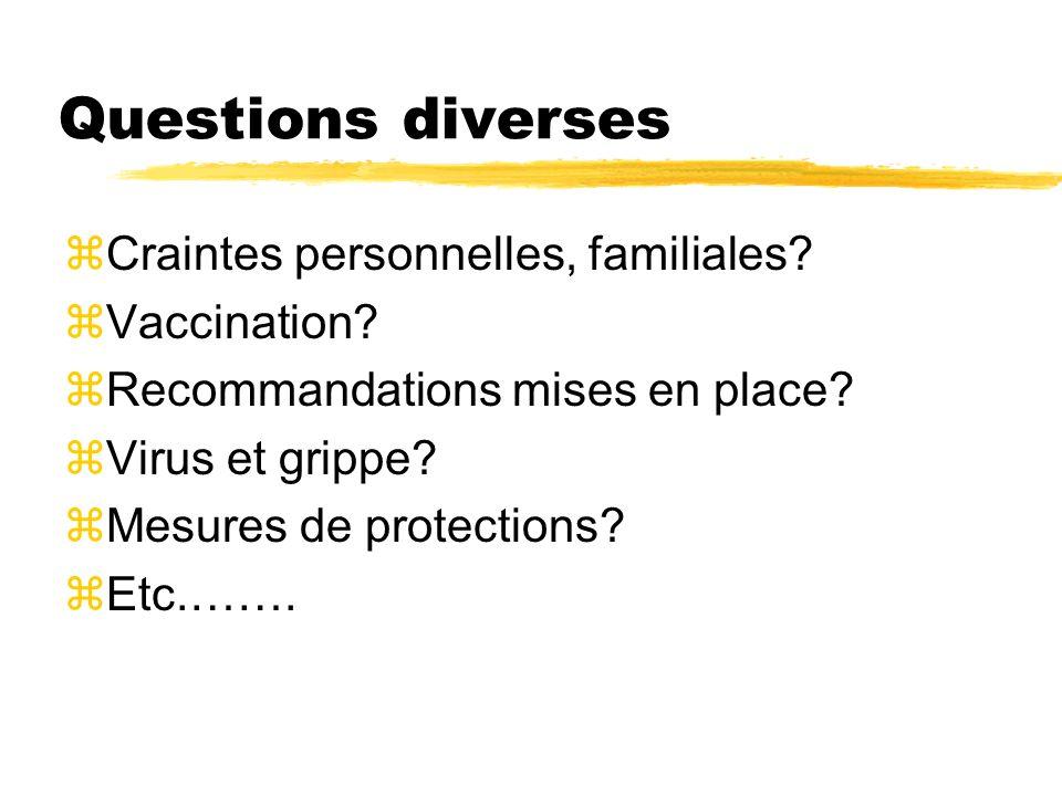 Questions diverses zCraintes personnelles, familiales? zVaccination? zRecommandations mises en place? zVirus et grippe? zMesures de protections? zEtc.