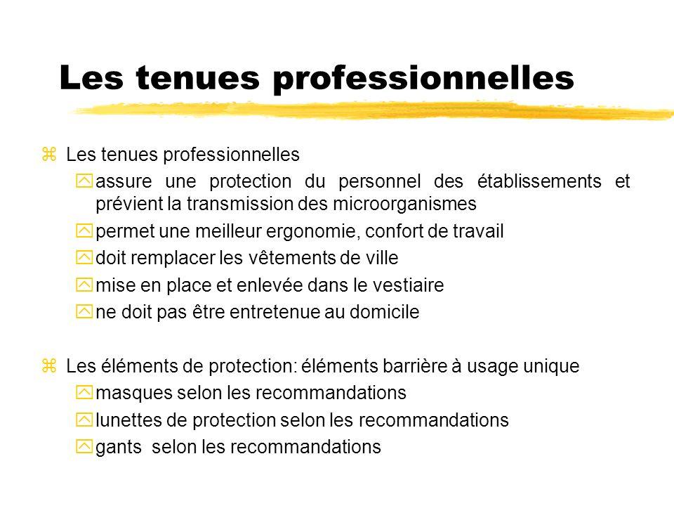 Les tenues professionnelles zLes tenues professionnelles yassure une protection du personnel des établissements et prévient la transmission des microo