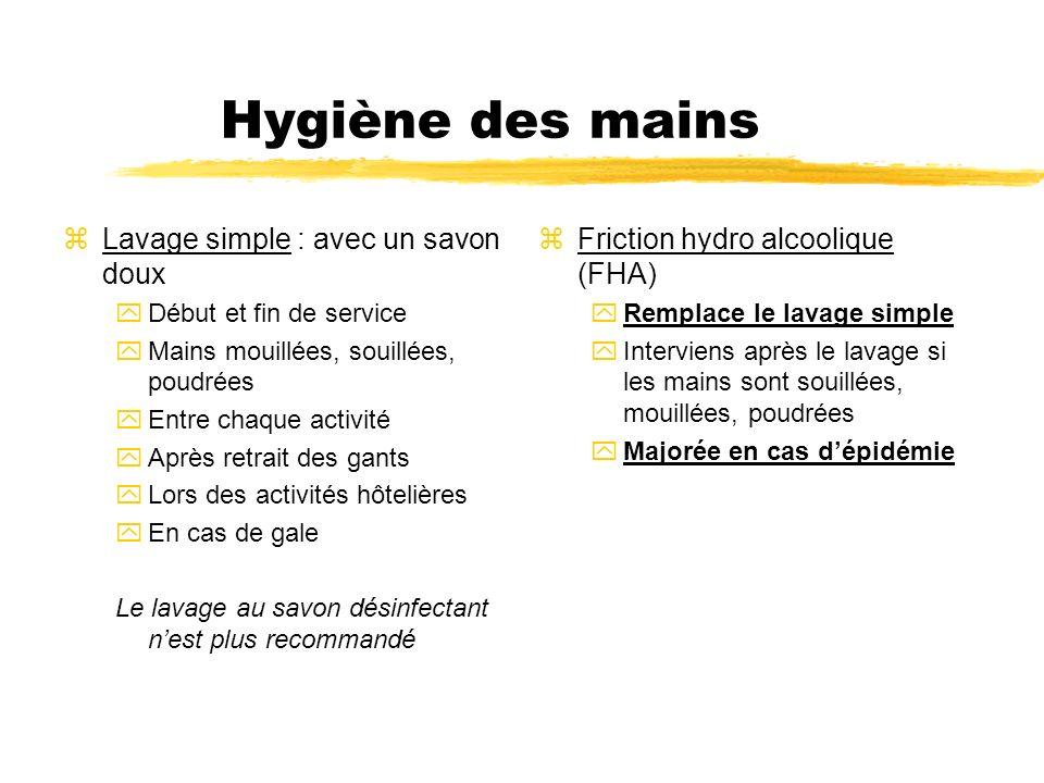 zFriction hydro alcoolique (FHA) yRemplace le lavage simple yInterviens après le lavage si les mains sont souillées, mouillées, poudrées yMajorée en c