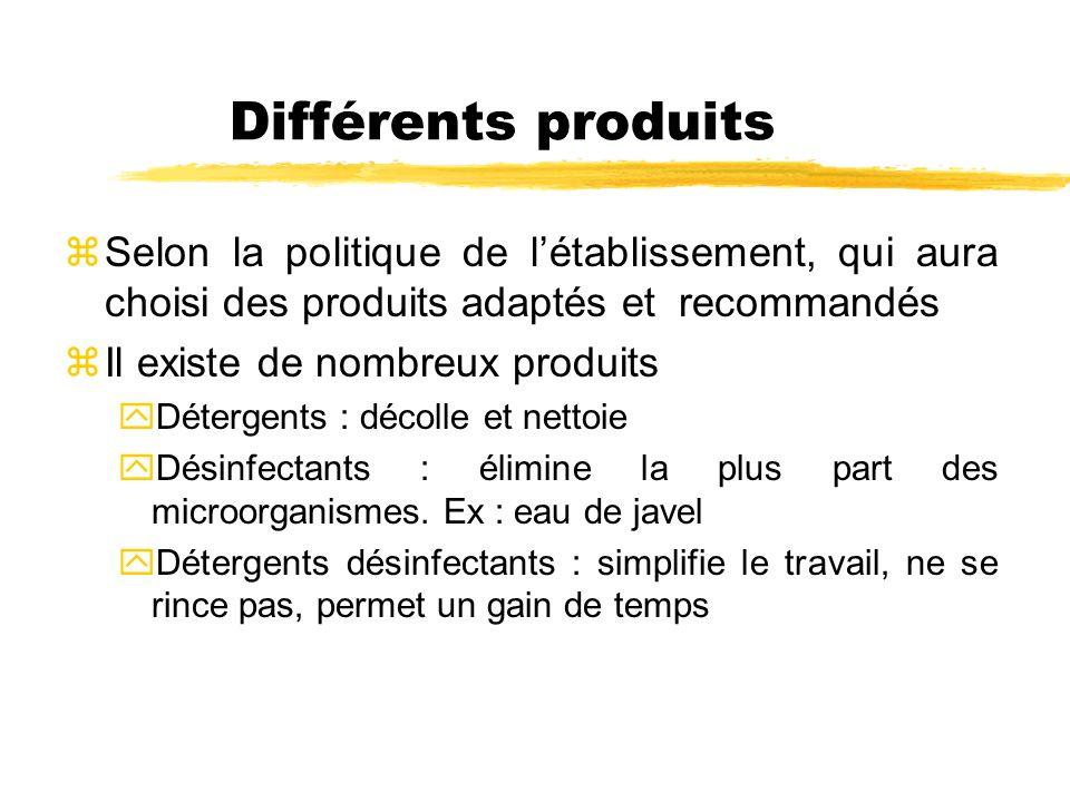 Différents produits zSelon la politique de létablissement, qui aura choisi des produits adaptés et recommandés zIl existe de nombreux produits yDéterg