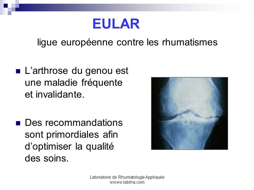 Laboratoire de Rhumatologie Appliquée wwww.labrha.com EULAR ligue européenne contre les rhumatismes Larthrose du genou est une maladie fréquente et in