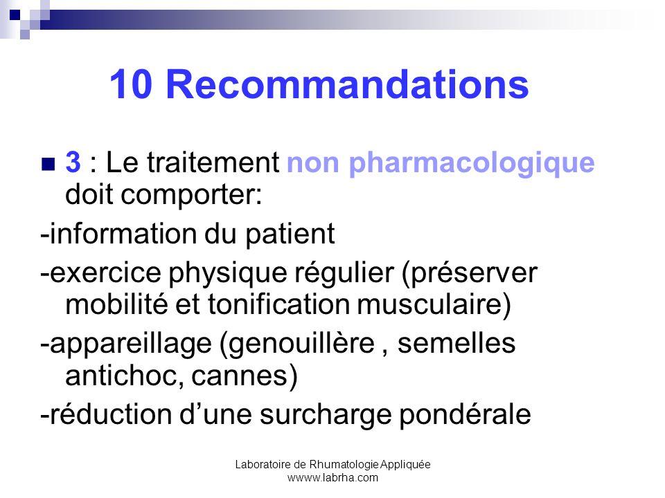 Laboratoire de Rhumatologie Appliquée wwww.labrha.com 10 Recommandations 4:Le paracétamol par voie orale est lantalgique de 1ère intention ainsi que pour les traitements au long cours 5:Les applications locales dAINS (anti inflammatoires non steroidiens =non cortisoniques)ou de CAPSAICINE sont efficaces et bien tolérées