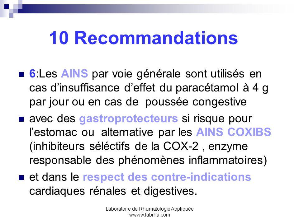 Laboratoire de Rhumatologie Appliquée wwww.labrha.com 10 Recommandations 6:Les AINS par voie générale sont utilisés en cas dinsuffisance deffet du par