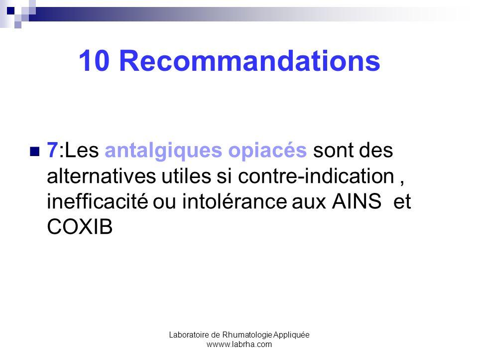 Laboratoire de Rhumatologie Appliquée wwww.labrha.com 10 Recommandations 7:Les antalgiques opiacés sont des alternatives utiles si contre-indication,