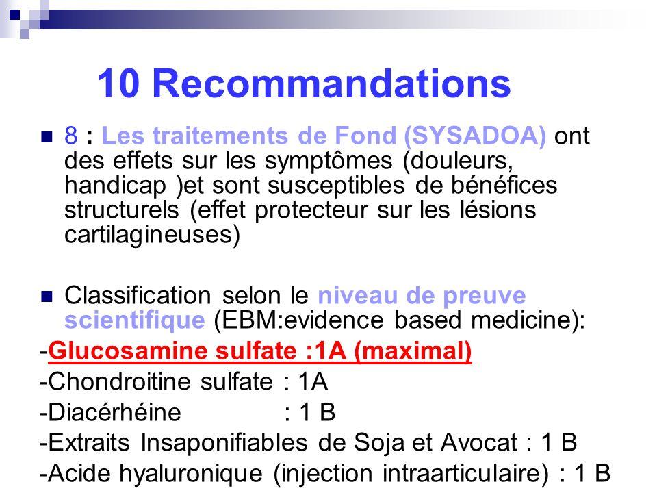 10 Recommandations 8 : Les traitements de Fond (SYSADOA) ont des effets sur les symptômes (douleurs, handicap )et sont susceptibles de bénéfices struc